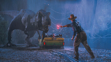 Dr. Grant waving a flare at the T-Rex in Jurassic Park.