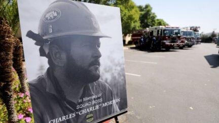 A photograph of fallen Big Bear Interagency Hotshot Charles Morton, a firefighter who was killed battling the El Dorado wildfire.