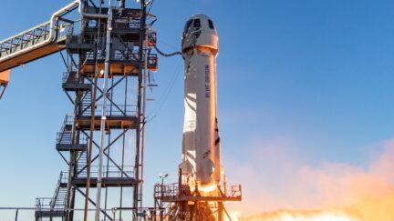 Jeff Bezos' Blue Origin New Shepard rocket spaceship.