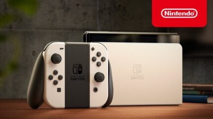 Nintendo Switch OLED model with larger screen, ethernet port.