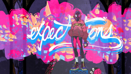 Fan art of Miles Morales standing in front of the word