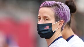 Megan Rapinoe #15 of Team United States is seen wearing a face mask prior to the Women's Semi-Final match between USA and Canada on day ten of the Tokyo Olympics.