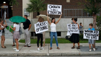 Families protest any potential mask mandates before the Hillsborough County Schools Board meeting