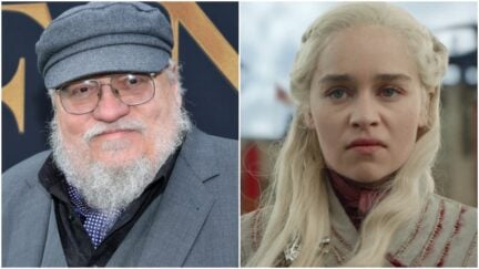 Split image of author George R.R. Martin and Emilia Clarke scowling as Daenerys on HBO's Game of Thrones