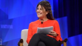 BEVERLY HILLS, CALIFORNIA - OCTOBER 22: Contributing Editor at Vanity Fair, Monica Lewinsky speaks onstage during 'Talkin' About Our Generation: The Power of Recent History' at Vanity Fair's 6th Annual New Establishment Summit at Wallis Annenberg Center for the Performing Arts on October 22, 2019 in Beverly Hills, California. (Photo by Matt Winkelmeyer/Getty Images for Vanity Fair)