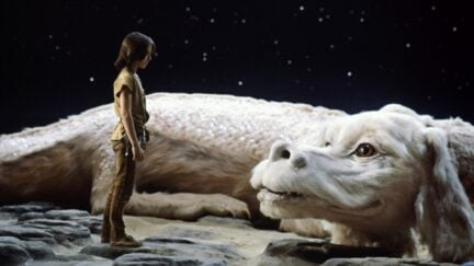 Noah Hathaway and Falkor in 'The Neverending Story'.