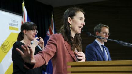 Prime Minister Jacinda Ardern speaks to media during a press conference
