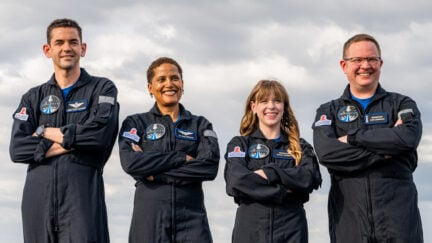 COUNTDOWN: INSPIRATION4 MISSION TO SPACE (L to R) JARED ISAACMAN, DR. SIAN PROCTOR, HAYLEY ARCENEAUX and CHRIS SEMBROSKI