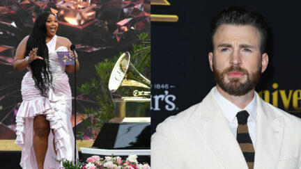 Chris Evans and Lizzo in press photos.
