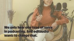 A woman sitting at a podcasting mic