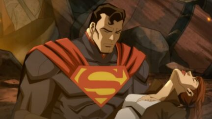 screenshot from the upcoming injustice film with Superman holding a dead Lois Lane—yikes