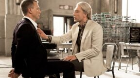 James Bond tied to a chair talking to Raoul Silva in 'Skyfall'
