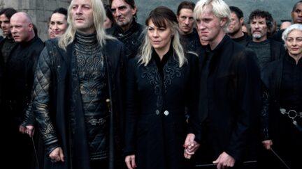 Jason Isaacs, Helen McCrory, and Tom Felton are the Malfoys