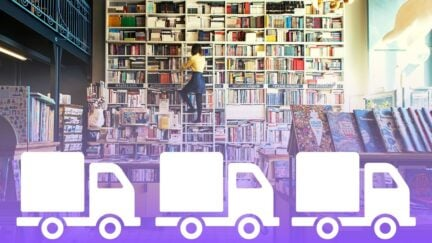 Bookshop with truck icons in front showing supply. (Image: Canva and Ksenia Chernaya from Pexels.)