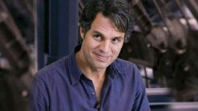 Wearing a purple shirt, Mark Ruffalo smiles as Bruce Banner in Avengers