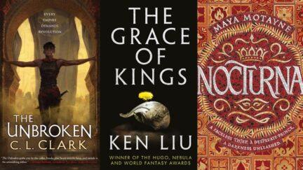 Three book covers featured in list. (Image: Orbit Books, Gallery/Saga Press, and Balzer & Bray/Harperteen.)