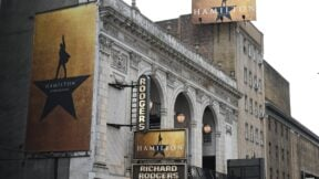The Richard Rodgers Theatre is seen on June 6, 2019 located on 226 West 46th Street where