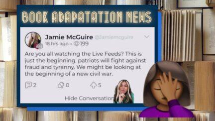 Screenshot of TikTok showing Mcguire cheering on Jan. 6 insurrection. Brown girl facepalming emoji. (Image: Raimey Gallant and Alyssa Shotwell.) https://twitter.com/raimeygallant/status/1452775249401954307?ref_src=twsrc%5Etfw%7Ctwcamp%5Etweetembed%7Ctwterm%5E1452775249401954307%7Ctwgr%5Ehb_1_7%7Ctwcon%5Es1_&ref_url=https%3A%2F%2Fpublish.twitter.com%2F%3Fquery%3Dhttps3A2F2Ftwitter.com2Fraimeygallant2Fstatus2F1452775249401954307widget%3DTweet