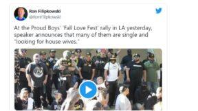 Ron Filipkowski tweets about single proud boys