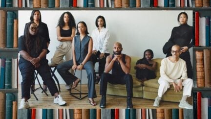 Solange Knowles, Shantel Pass, and other members of Saint Heron. Image over a photo of books. (Image: Rafael Rios.) https://www.essence.com/entertainment/only-essence/saint-heron-exclusive/