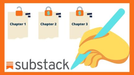 Chapters locked behind a paywall. Writing hand drawing Substack logo. (Image: Substack and Alyssa Shotwell.)
