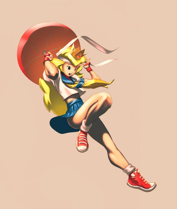 Princess Peach as Sakura (Street Fighter)