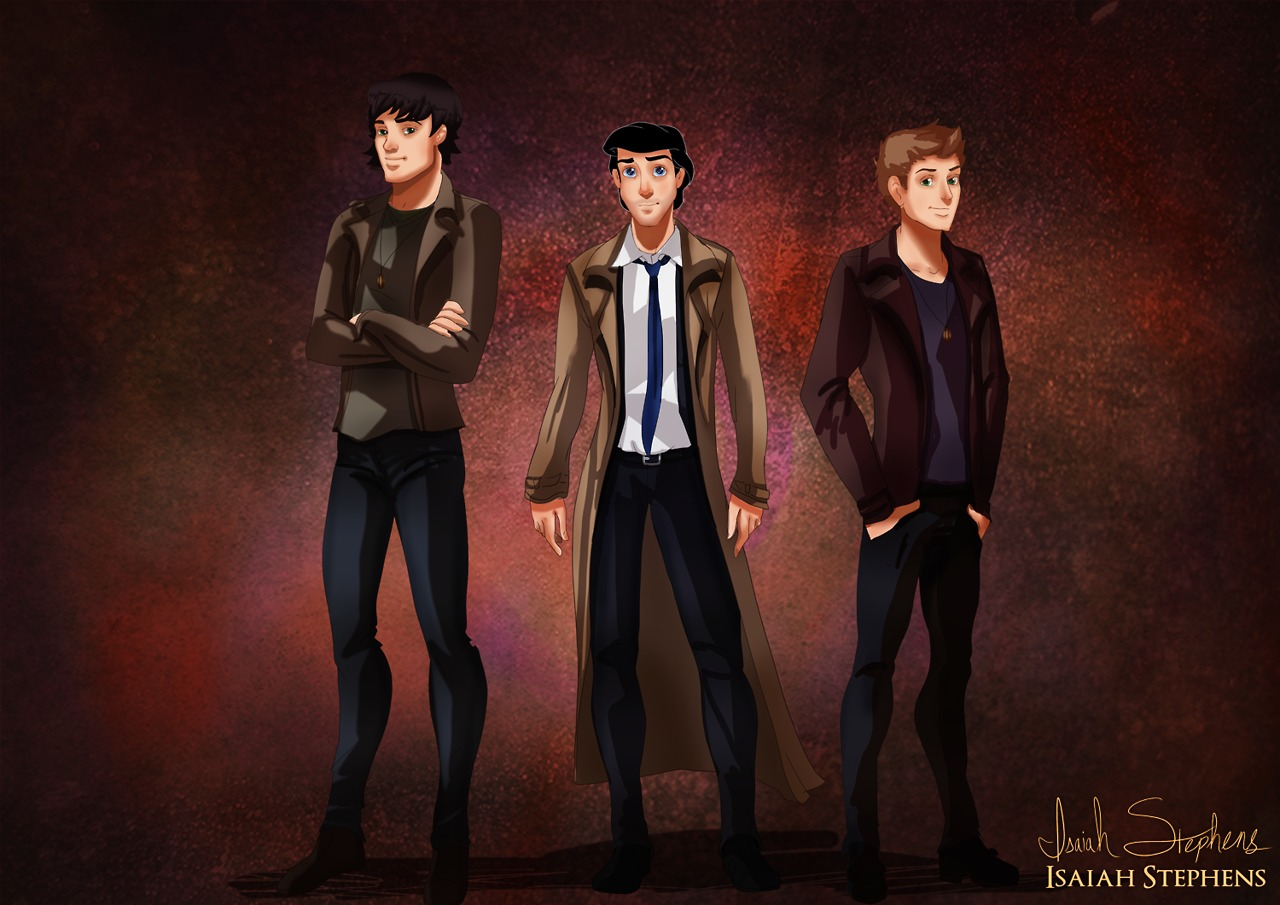 Prince Charming, Prince Eric, and Prince Florian as Sam, Castiel, and Dean