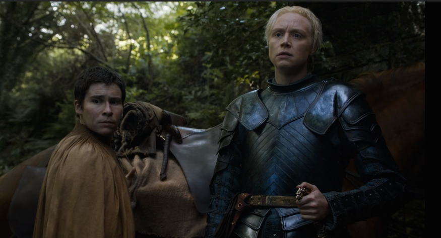 The minute change in Brienne's facial expression when Hot Pie says she seems like a 'proper lady'