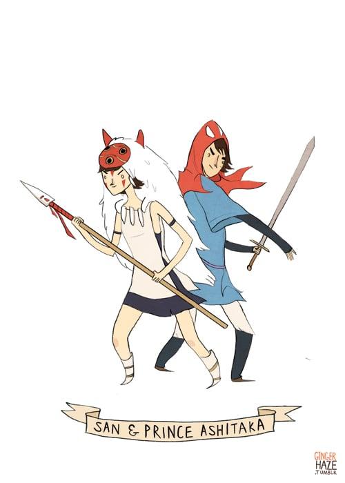 San and Prince Ashitaka from <em>Princess Mononoke</em>