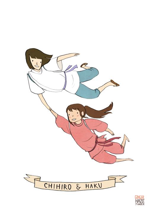 Chihiro and Haku from <eM>Spirited Away</eM>