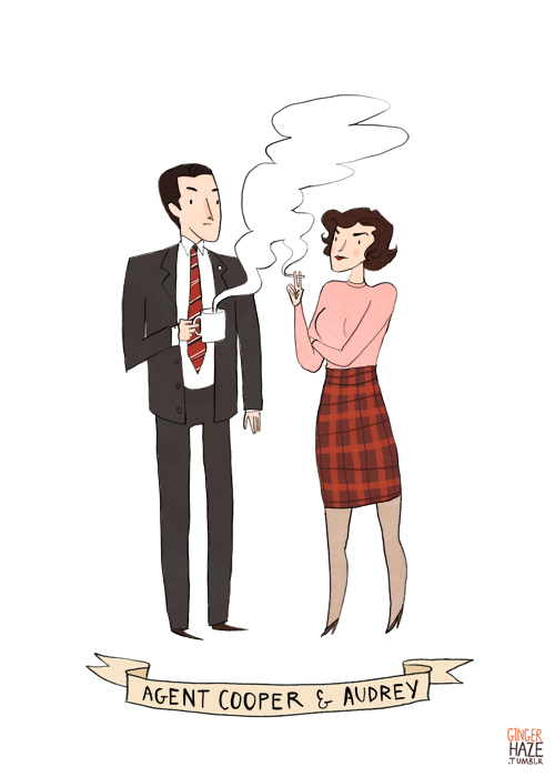 Agent Cooper and Audrey from <em>Twin Peaks</eM>