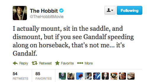 Gandalf rides horses quite often, did you do this or did they use stunt doubles?