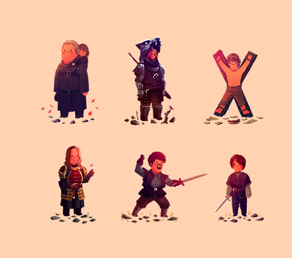 Hodor & Bran, The Hound, Theon, Jaqen, Syrio, Arya