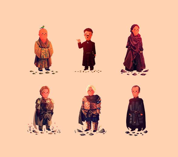 Varys, Littlefinger, Melisandre, Jaime, Brienne, Stannis