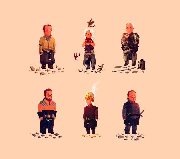 Jorah, Daenerys, Ser Barristan, Khal Drogo, Viserys, Bronn