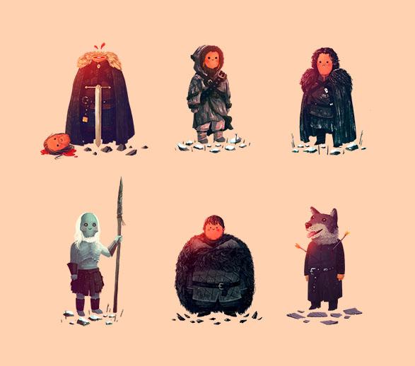 Ned, Ygritte, Jon, White Walker, Sam, Robb