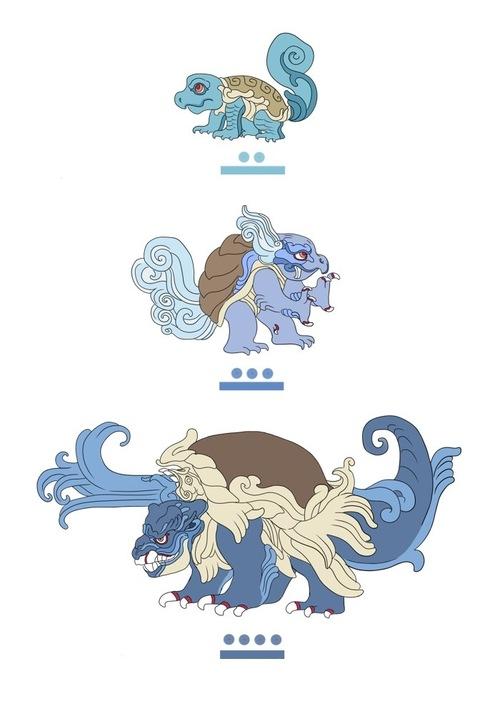 Squirtle, Wartortle, Blastoise