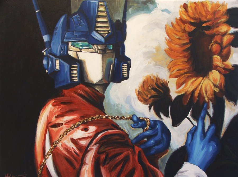 optimus_prime_with_sunflower_by_wytrab8-d51x3du