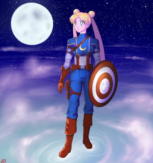 Sailor Moon as Captain America
